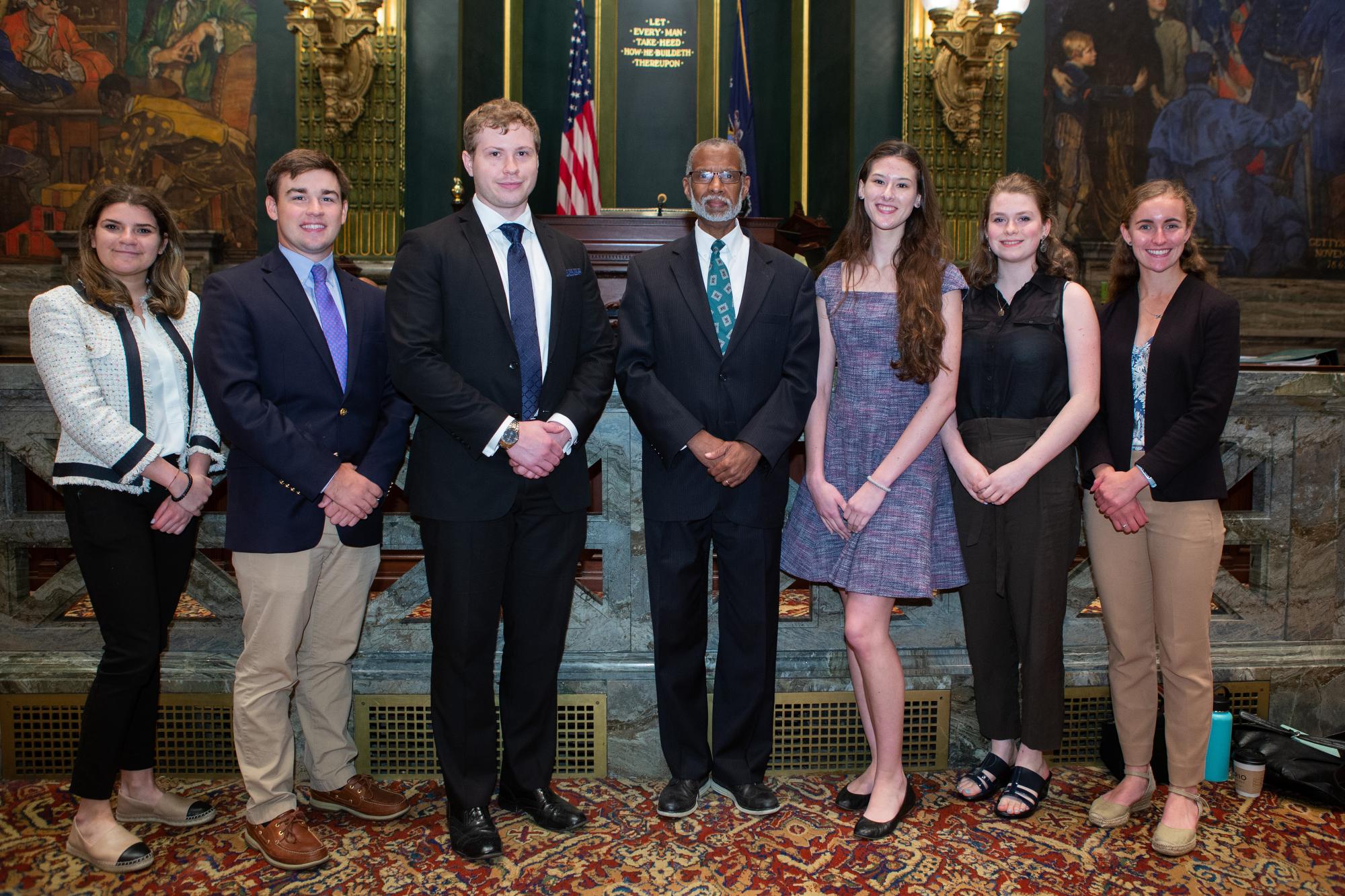 June 25, 2019: Senator Haywood's summer interns spend the day on the PA Senate Floor .