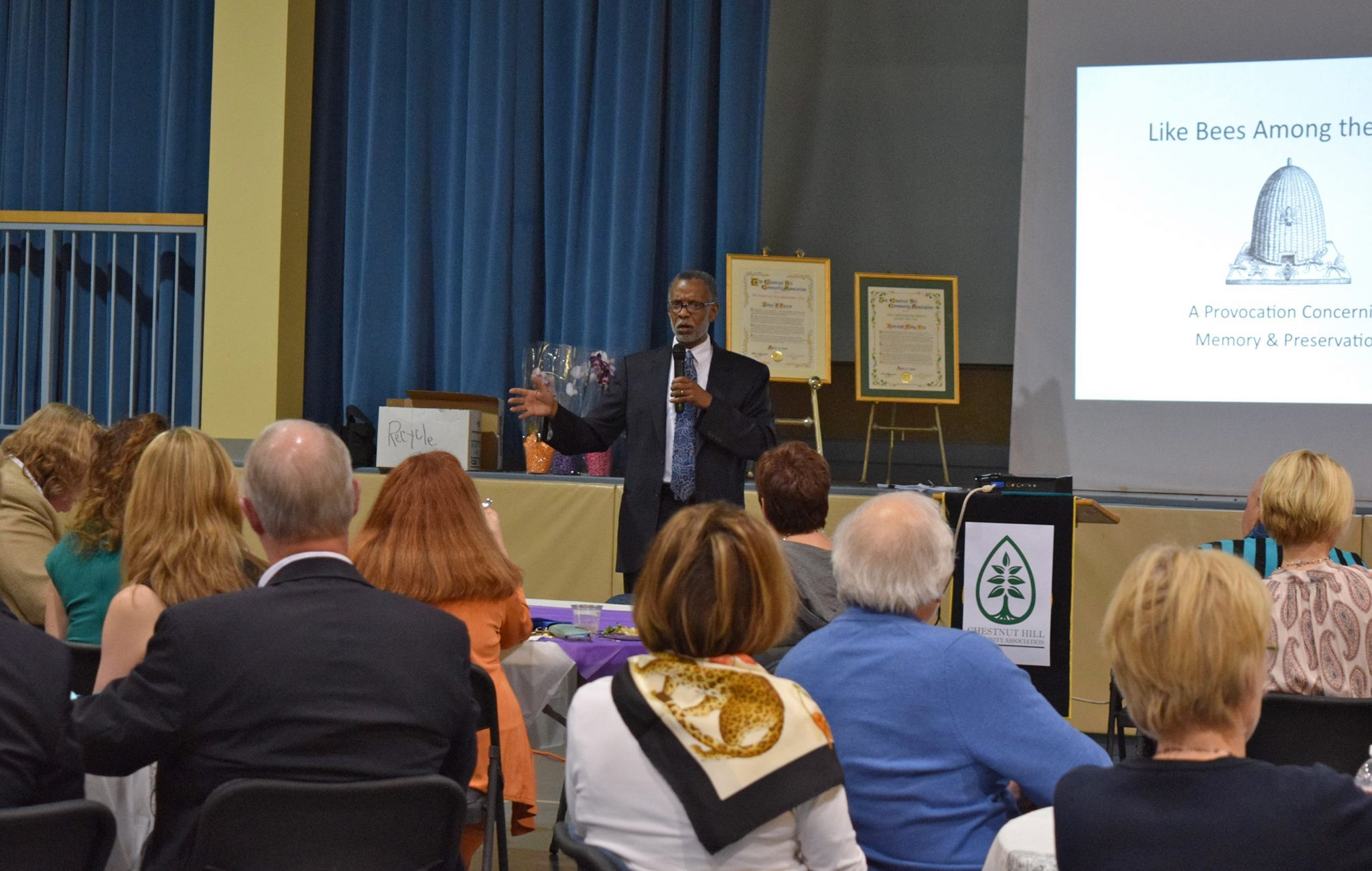 April 21, 2016: Senator Haywood speaks at the Chestnut Hill Community Association Annual Meeting.