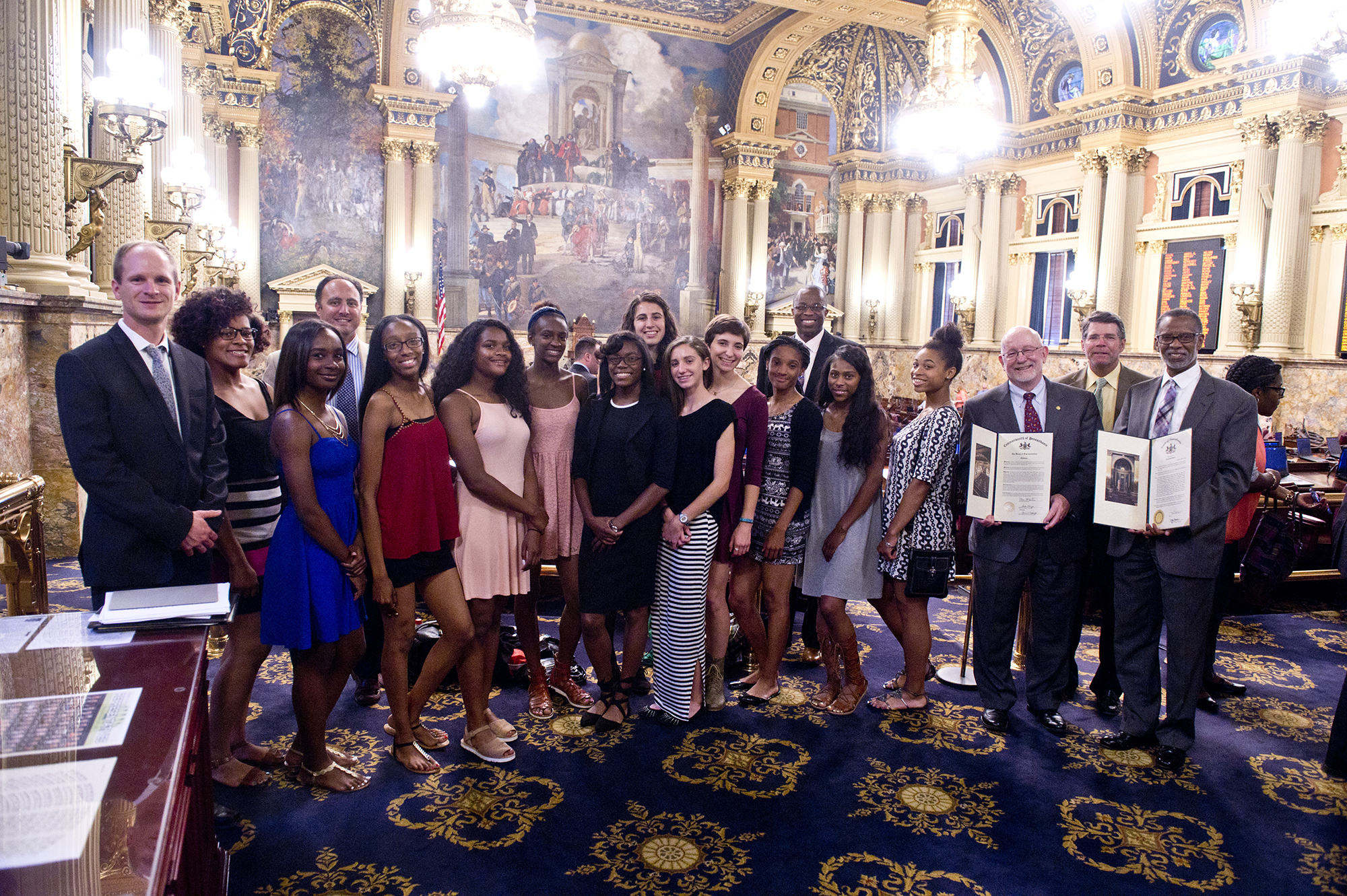 June 7, 2016: Senator Haywood joins Rep. McCarter to present a Senate citation to the Cheltenham High School Girls Outdoor Track Team for winning the State Championship.