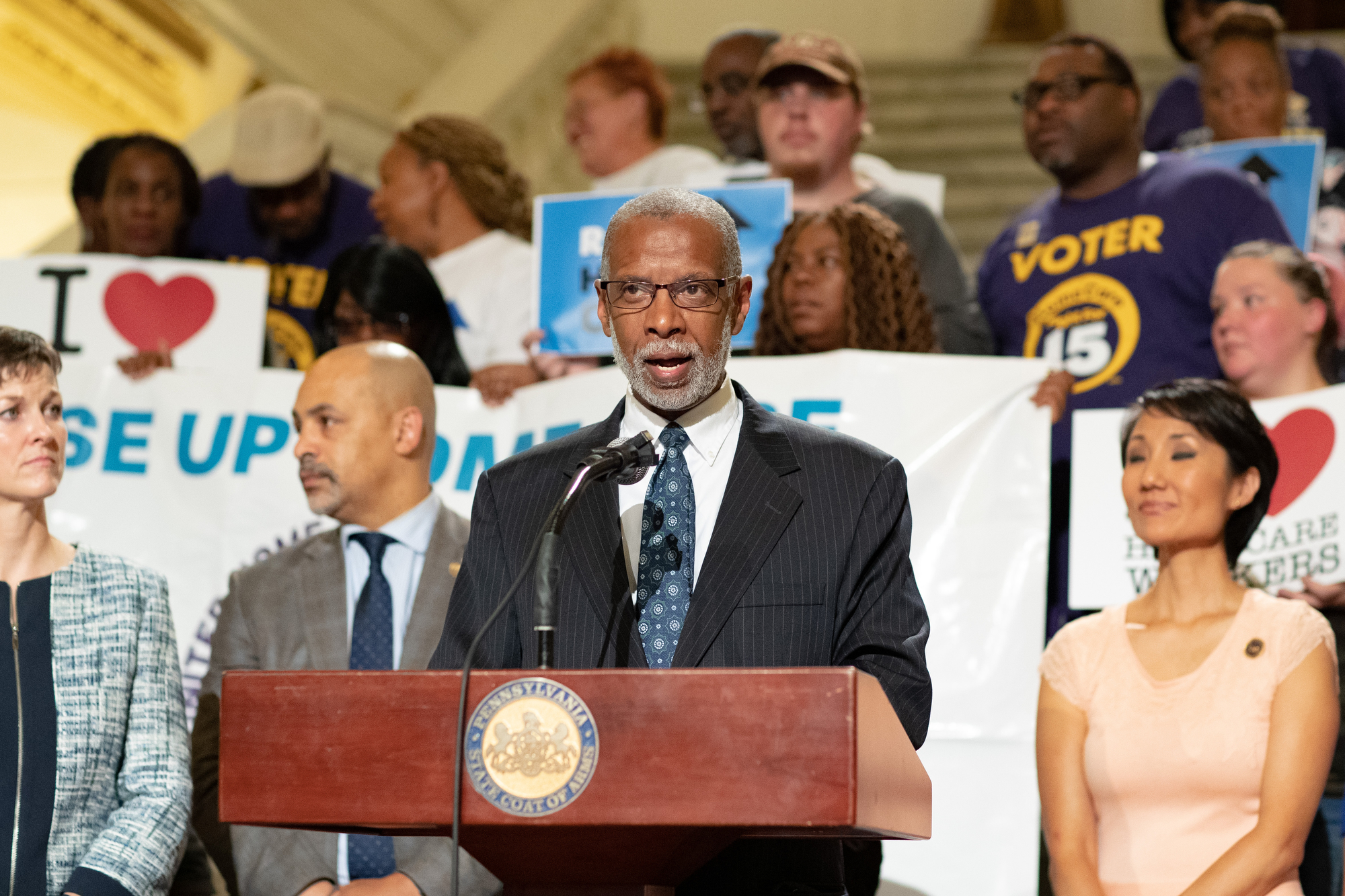 June 17, 2019 – Senator Haywood attends a rally  to call for a $15 minimum wage in Pennsylvania. Teresa Miller, Secretary of the state Department of Human Services,  focused on how a wage increase would specifically help home care workers who care for the sick and aging.