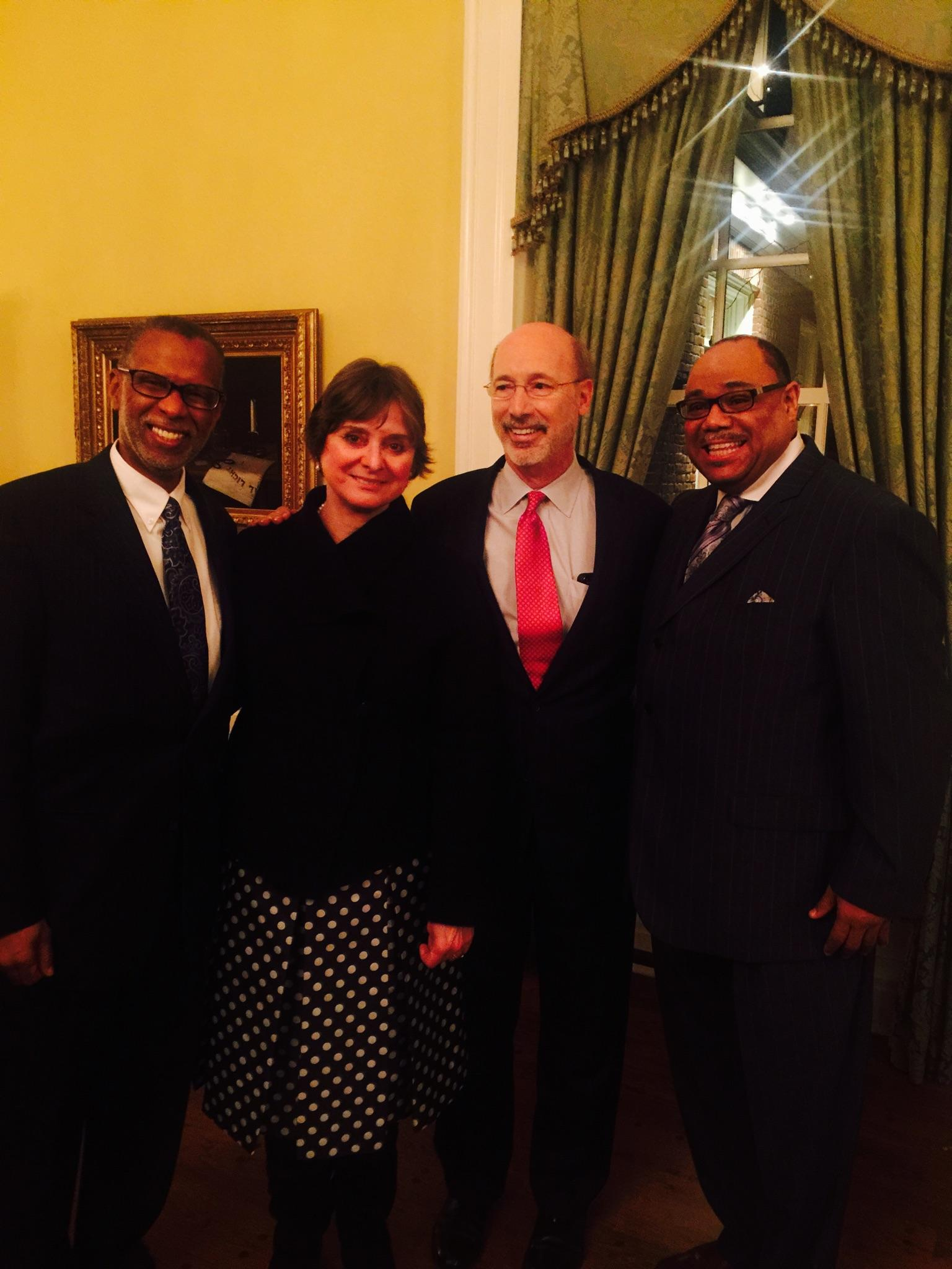February 24, 2015: My Chief of Staff, Dwight Lewis, and I joined Governor Tom Wolf and First Lady Frances Wolf to celebrate Black History Month at the Governor's Mansion.