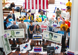 September 17, 2019: Sen. Haywood joins fellow minimum wage activists in the Capitol to demand action on several pending bills that would raise the state's minimum wage.