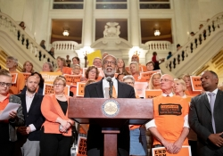 June 5, 2019: Sen. Art Haywood speaks alongside gun control advocates on National Gun Violence Awareness Day.