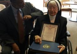 February 7, 2016: Sen. Haywood honors constituent Sister Podney on her 100th birthday.