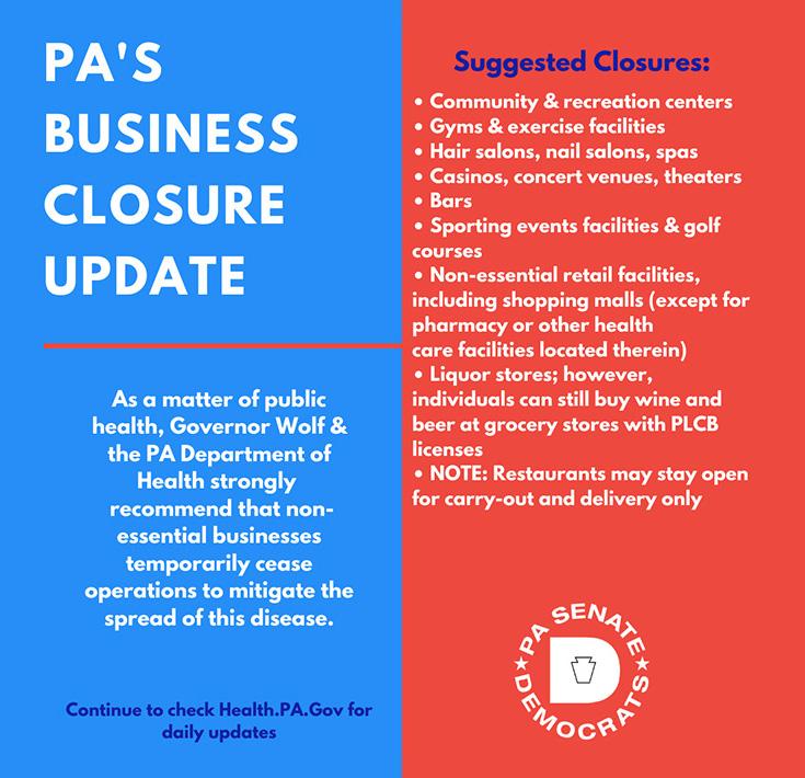 PA's Business Closure Update