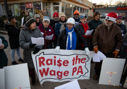 December 19, 2019: State Senator Art Haywood joined POWER to Carol for A McRaise event outside of the Chelten Avenue McDonald's.  This was an effort to get owner Derek Giacomantonio to raise the wage of his employees to $15 an hour.