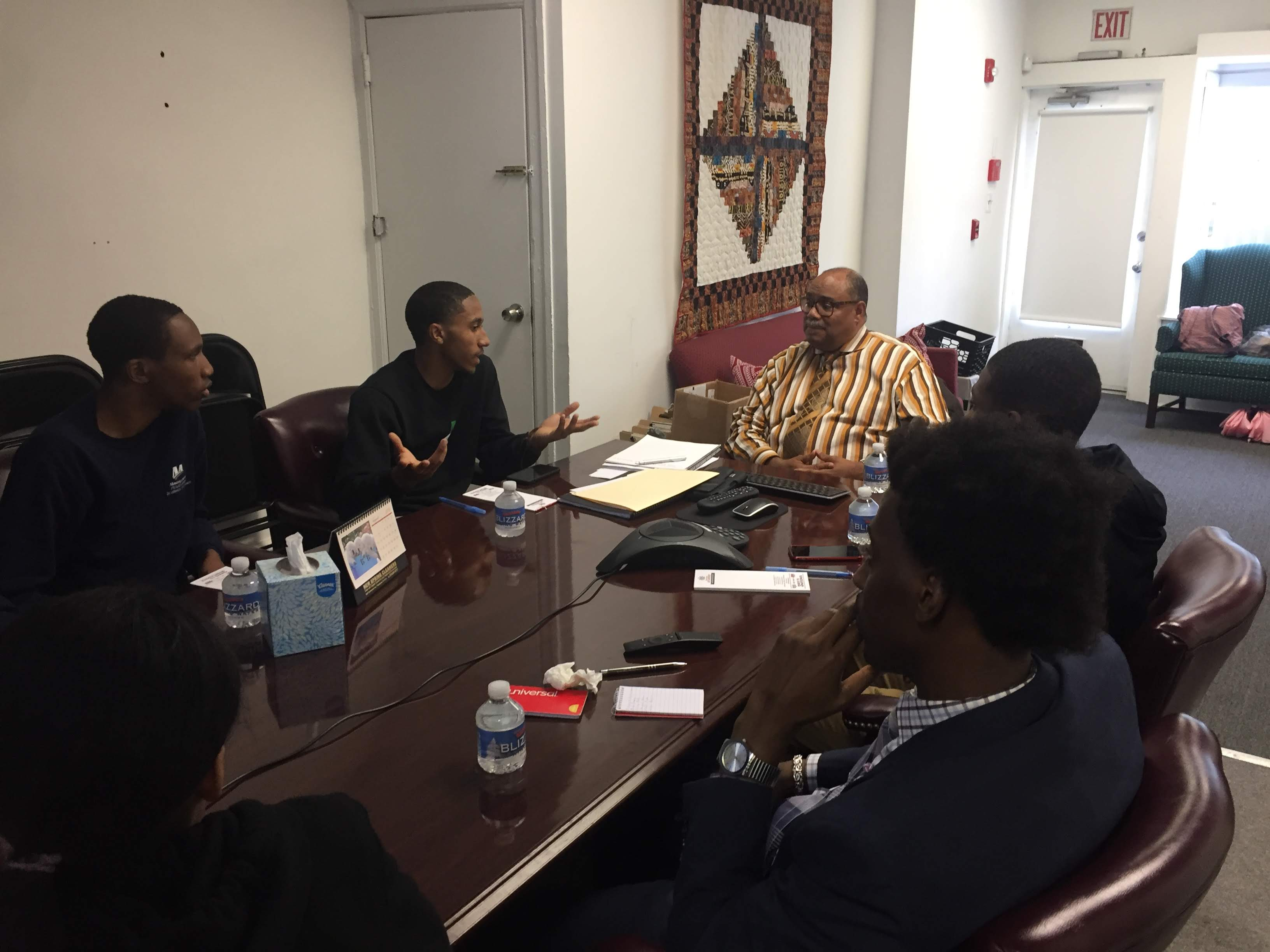 May 17, 2017: Senator Haywood's Chief of Staff, Dwight Lewis meets with Mastery Picket seniors to discuss mentoring in the community.