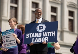 April 9, 2019: Senator Art Haywood joins SEIU at state Capitol rally for better workers' rights.