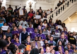 April 30, 2019: Senator Haywood participates in a rally for Policy Accountability in the capitol rotunda.