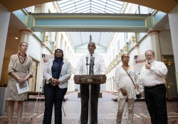 """August 14, 2018: SenatorHaywood spoke at the opening of """"Souls Shot: Portraits of Victims of Gun Violence."""" The exhibit in the PA State Capitol's East Wing features artists' poignant testimony on the effect of the scourge of gun violence on families and communities.James Robinson 