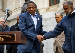 October 25, 2018: Sen. Art Haywood  joined fellow Democratic Leaders outside of City Hall on the SW Corner in front of the Octavius V. Catto statue for an emergency news conference calling for peace following the bomb threats were made on the lives of former Presidents Obama and Clinton, as well as former Vice President Joe Biden, Rep. Maxine Waters, and news outlet CNN and others.