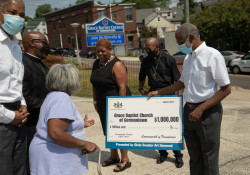 August 11, 2021:  State Senator Art Haywood  joins Rev. Dr. J. Henry Buck, Jr., Senior Pastor at Grace Baptist Church of Germantown, for a check presentation and press conference.  Grace Baptist Church of Germantown received a $1 million grant from the Redevelopment Assistance Capital Program (RACP) in 2020 to construct the Grace Community Family Life Center.