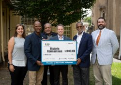 August 18, 2021: State Senator Art Haywood joins Tuomi Forrest, Executive Director of Historic Germantown, for a check presentation and press conference.  Historic Germantown received a $1 million grant from the Redevelopment Assistance Capital Program (RACP) in 2020 to renovate and preserve three buildings, which are national historic landmarks.