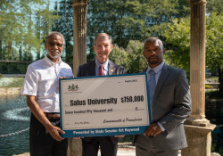 August 24, 2021: State Senator Art Haywood  joined Dr. Michael H. Mittelman, President of Salus University, for a check presentation and press conference.  Salus University received a $750,000 grant from the Redevelopment Assistance Capital Program (RACP) in 2020 to construct an Orthotics and Prosthetics Facility.