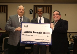 March 10, 2016: Sen. Haywood presents a Community Conservations Partnerships Program grant to Abington Township's Parks and Recreation Department.