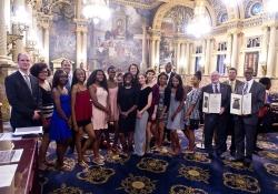 June 7, 2016: Senator Haywood joins Rep. McCarter to present a Senate citation to the Cheltenham High School Girls Outdoor Track Team for winning the State Championship.