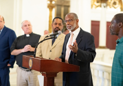 June 24, 2019: Health and Human Services Committee Democratic Chairman State Senator Art Haywood joined members of the PA General Assembly and statewide advocates to fight to protect the General Assistance program. House Bill 33, which is now in the Senate for consideration, would eliminate the program which provides cash assistance to those who are in urgent need.