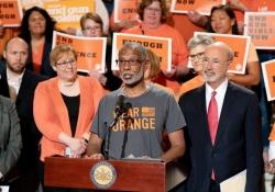 June 5, 2019: Sen. Art Haywood speaks alongside gun control advocates on National Gun Violence Awareness Day.