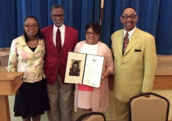 May 18, 2016: Senator Haywood presents the Center in the Park Songsters with a citation on their 30th Anniversary