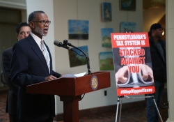 May 11, 2016: Senator Haywood introduces fair tax reform legislation at a press conference in the Capitol.