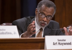 June 13, 2016: Senator Haywood questions witnesses at a hearing on HB 1947 as a member of the Judiciary Committee