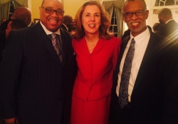 February 24, 2015: My Chief of Staff, Dwight Lewis, and I joined Katie Mcginty to celebrate Black History Month at the Governor's Mansion.