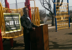 April 16, 2015: At Pleasant Playground in Mount Airy, where Mt. Airy USA announced their grant from Wells Fargo Regional Foundation to create a community-driven neighborhood plan.