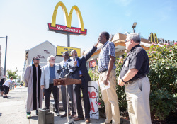 September 27, 2019: Sen. Haywood held a news conference outside the Chelten Ave. McDonalds today to announce that the owner of the restaurant has agreed to discuss a wage increase for his employees.