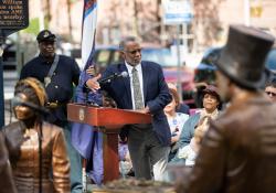 June 15, 2021: Senator Art Haywood speaks at  Toni Morrison Bench Dedication Harrisburg as part of first African American monument